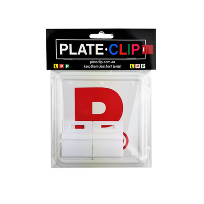 Cheap White Plate Clips with 2 x Red P Plates