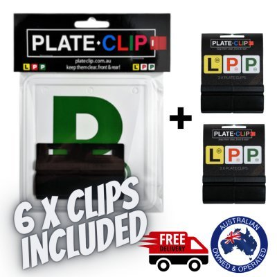 6 x Black Plate Clips with Green P Plates