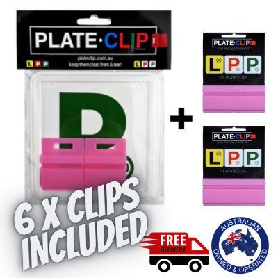 6 x Pink Plate Clips with Green P Plates
