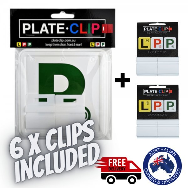 6 x White Plate Clips with Green P Plates