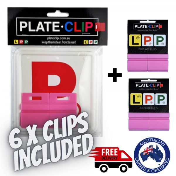 The Best Pink Plate Clips with 2 x Red P Plates
