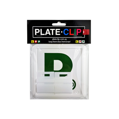 Cheap White Plate Clips with 2 x Green P Plates
